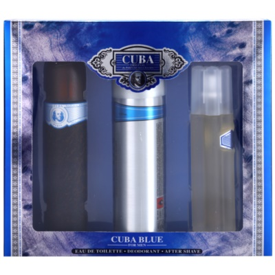 Cuba Blue coffret cadeau II.  eau de toilette 100 ml + lotion après-rasage 100 ml + déodorant en spray 200 ml