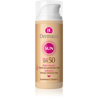 Dermacol Sun Water Resistant loción facial con color y resistente al agua SPF 50