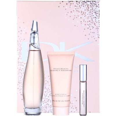 DKNY Liquid Cashmere coffret I. Eau de Parfum 100 ml + Eau de Parfum 10 ml + leite corporal 100 ml