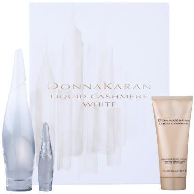 DKNY Liquid Cashmere White σετ δώρου I. Eau de Parfum 100 ml + Eau de Parfum 7 ml + λοσιόν σώματος 100 ml