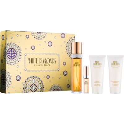 Elizabeth Taylor White Diamonds set cadou II.  Apa de Toaleta 100 ml + Apa de Toaleta 10 ml + Lotiune de corp 100 ml + Gel de dus 100 ml