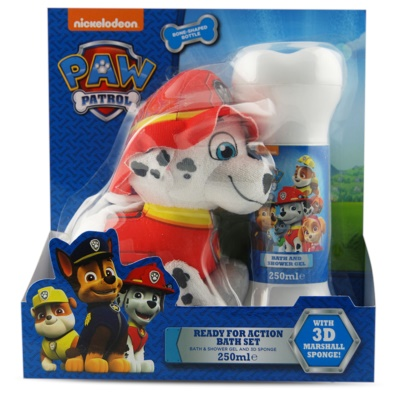 EP Line Paw Patrol dárková sada II.  sprchový a koupelový gel 250 ml + mycí houba 1 ks