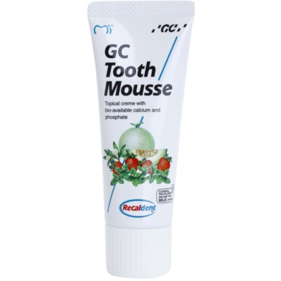 GC Tooth Mousse Strawberry crema protectora remineralizante para dientes sensibles  sin flúor