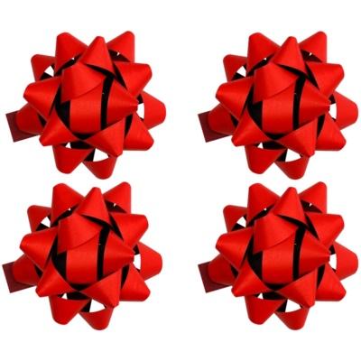 gwiazda samoprzylepna na prezenty duża mat 4 szt Red