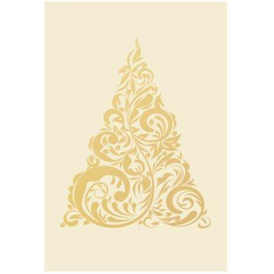 Felicitare de Crăciun copac auriu fără text (A6)