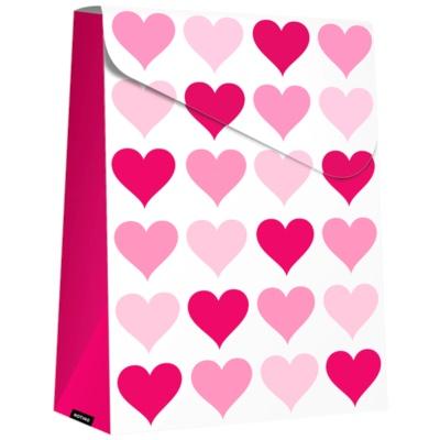 bolsa de regalo plegable Pink Hearts, grande (140 x 40 x 210 mm)