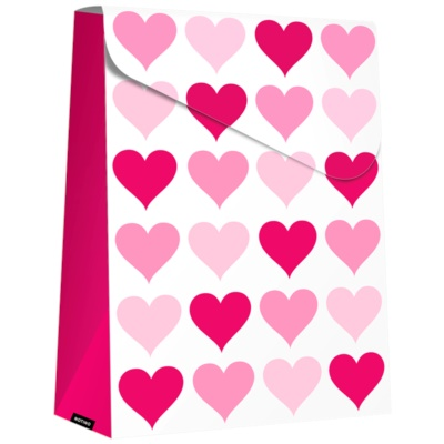 pudełko na prezent Pink Hearts (140 x 40 x 210 mm)