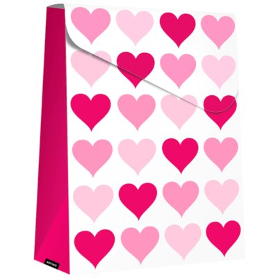 ajándék táska nagy Pink Hearts (140 x 40 x 210 mm)
