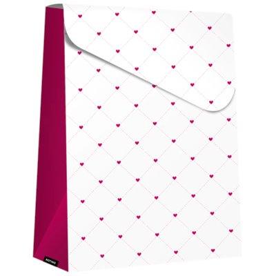 bolsa de regalo plegable Purple Hearts, grande (140 x 40 x 210 mm)