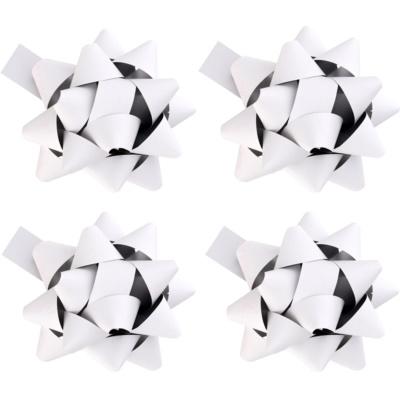 gwiazda samoprzylepna na prezenty matowa biała 4 szt