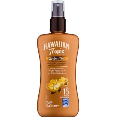 Hawaiian Tropic Golden Tint ochronne mleczko do ciała w sprayu SPF 15
