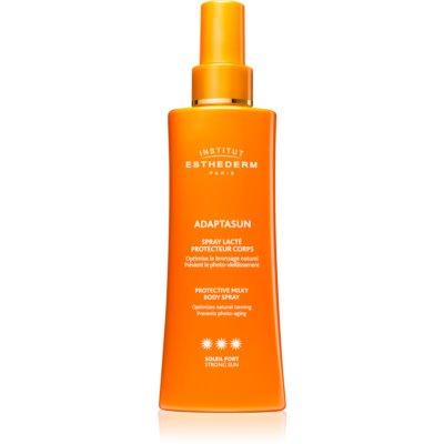 schützende Sonnenmilch im Spray hoher UV-Schutz