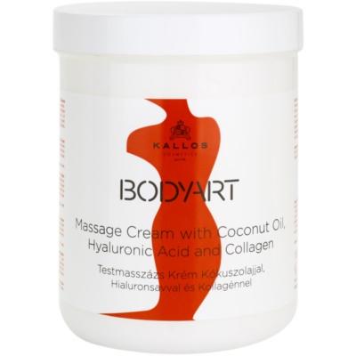 Kallos BodyArt creme de massagem com óleo de coco, ácido hialurônico e colagénio