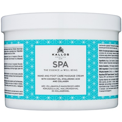 Kallos Spa crema per massaggi per mani e piedi