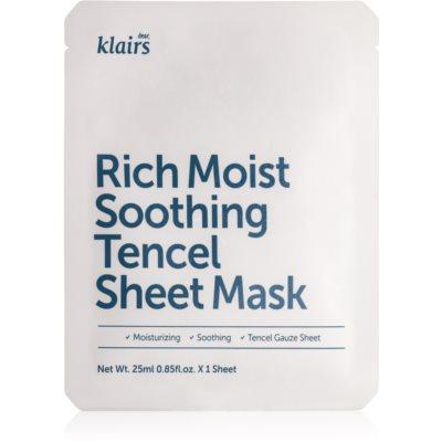 upokojujúca plátienková maska s hydratačným účinkom