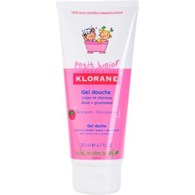 Klorane Petit Junior gel de douche corps et cheveux arôme framboise