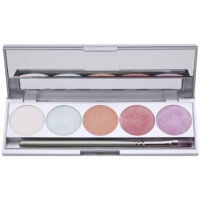 paleta osvetljevalcev za obraz in telo 5 barv z ogledalom in aplikatorjem