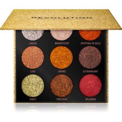 Makeup Revolution Pressed Glitter Palette paleta prešanih šljokica nijansa Midas Touch 10,8 g
