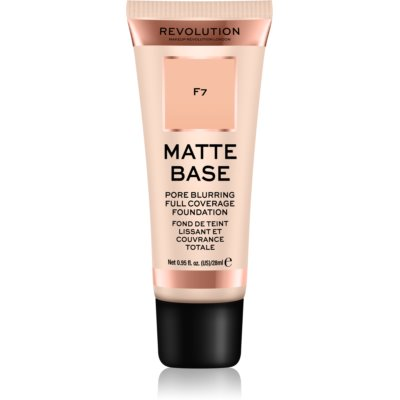 Makeup Revolution Matte Base Make-Up  κάλυψης απόχρωση F7 28 μλ