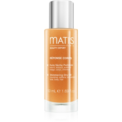 třpytivý suchý olej na obličej, tělo a vlasy