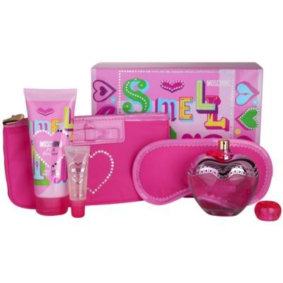 Moschino Pink Bouquet zestaw upominkowy V. woda toaletowa 100 ml + mleczko do ciała 100 ml + Błyszczyk do ust 10 ml + maska do spania  + torebka