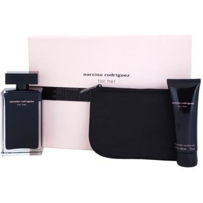Narciso Rodriguez For Her σετ δώρου XVII.  Eau de toilette 100 ml + κρέμα σώματος 75 ml + τσάντα για καλλυντικά 17,5 cm x 1 cm x 12 cm