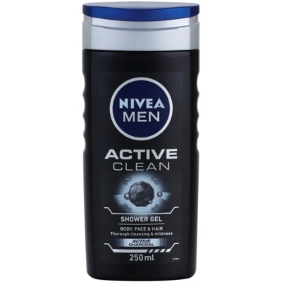 Nivea Men Active Clean Shower Gel for Face, Body, and Hair for Men