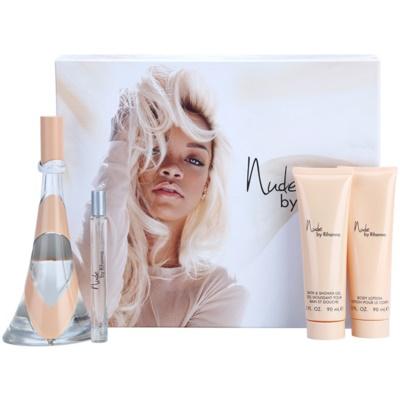 Rihanna Nude coffret cadeau III.  eau de parfum 100 ml + eau de parfum 10 ml + lait corporel 90 ml + gel de douche 90 ml