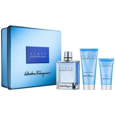 Salvatore Ferragamo Acqua Essenziale Geschenkset I.  Eau de Toilette 100 ml + After Shave Balsam 50 ml + Duschgel 100 ml