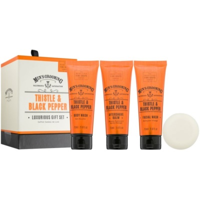 Scottish Fine Soaps Men's Grooming Thistle & Black Pepper Cosmetic Set I.