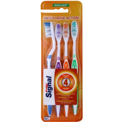Signal Anti-Plaque Action brosses à dents soft 4 pièces