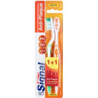 Signal Anti-Plaque brosses à dents medium 2 pcs