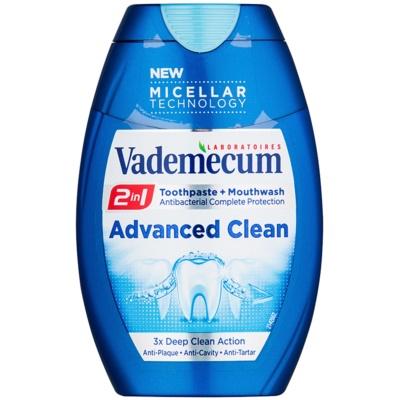 Vademecum Advanced Clean Pro Micellar Technology zubná pasta a ústna voda 2v1 pre kompletnú ochranu zubov