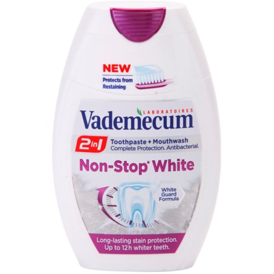 Vademecum 2 in1 Non-Stop White dentifrice + bain de bouche  en un seul produit