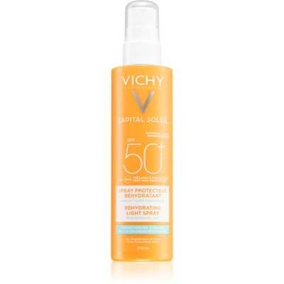 Vichy Capital Soleil Beach Protect мультизахисний спрей проти знеживлення шкіри SPF 50+