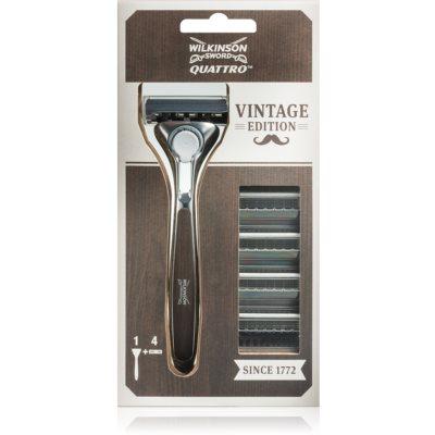 Wilkinson Sword Quattro Vintage Edition  Shaver + Spare Blades 4 pcs