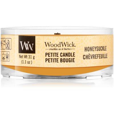 Woodwick Honeysuckle votivna sveča z lesenim stenjem