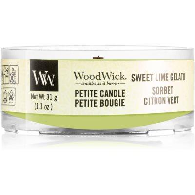 Woodwick Sweet Lime Gelato votivní svíčka 31 g s dřevěným knotem