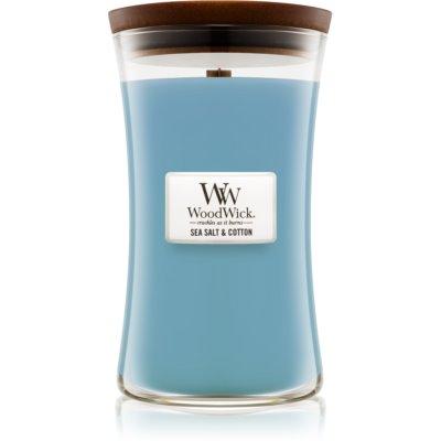 Woodwick Sea Salt & Cotton świeczka zapachowa  609,5 g z drewnianym knotem