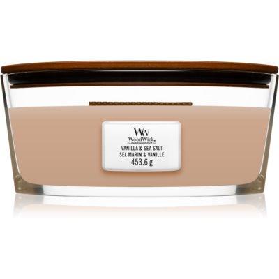 Woodwick Vanilla & Sea Salt świeczka zapachowa  453,6 g z drewnianym knotem (Hearthwick)