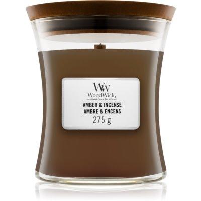 Woodwick Amber & Incense vela perfumada  275 g con mecha de madera