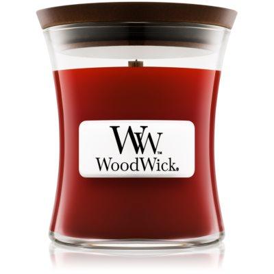 Woodwick Cinnamon Chai dišeča sveča  z lesenim stenjem