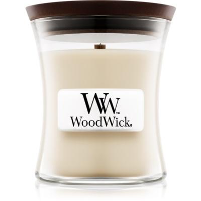 Woodwick Linen dišeča sveča   z lesenim stenjem
