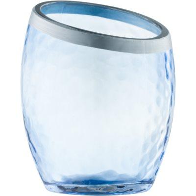 Стъклен свещник с вотивна свещ    Blue