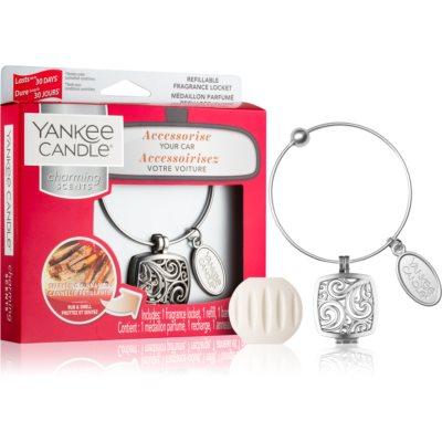 Yankee Candle Sparkling Cinnamon άρωμα για αυτοκίνητο μενταγιόν + ανταλλακτικό για γέμιισμα (Square)