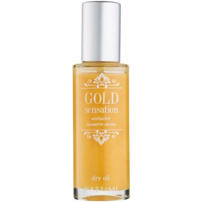 suchý olej so zlatými čiastočkami na tvár, telo a vlasy