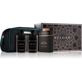 Bvlgari Man in Black darčeková sada IV. parfém 100 ml + balzam po holení 75 ml + sprchový gel 75 ml + kozmetická taška