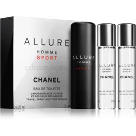 Chanel Allure Homme Sport toaletná voda (1x plniteľná + 2x náplň) pre mužov 3 x 20 ml