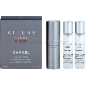 Chanel Allure Homme Sport Eau Extreme toaletná voda (1x plniteľná + 2x náplň) pre mužov 3 x 20 ml