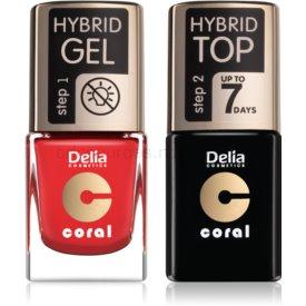 Delia Cosmetics Coral Nail Enamel Hybrid Gel kozmetická sada pre ženy odstín 01